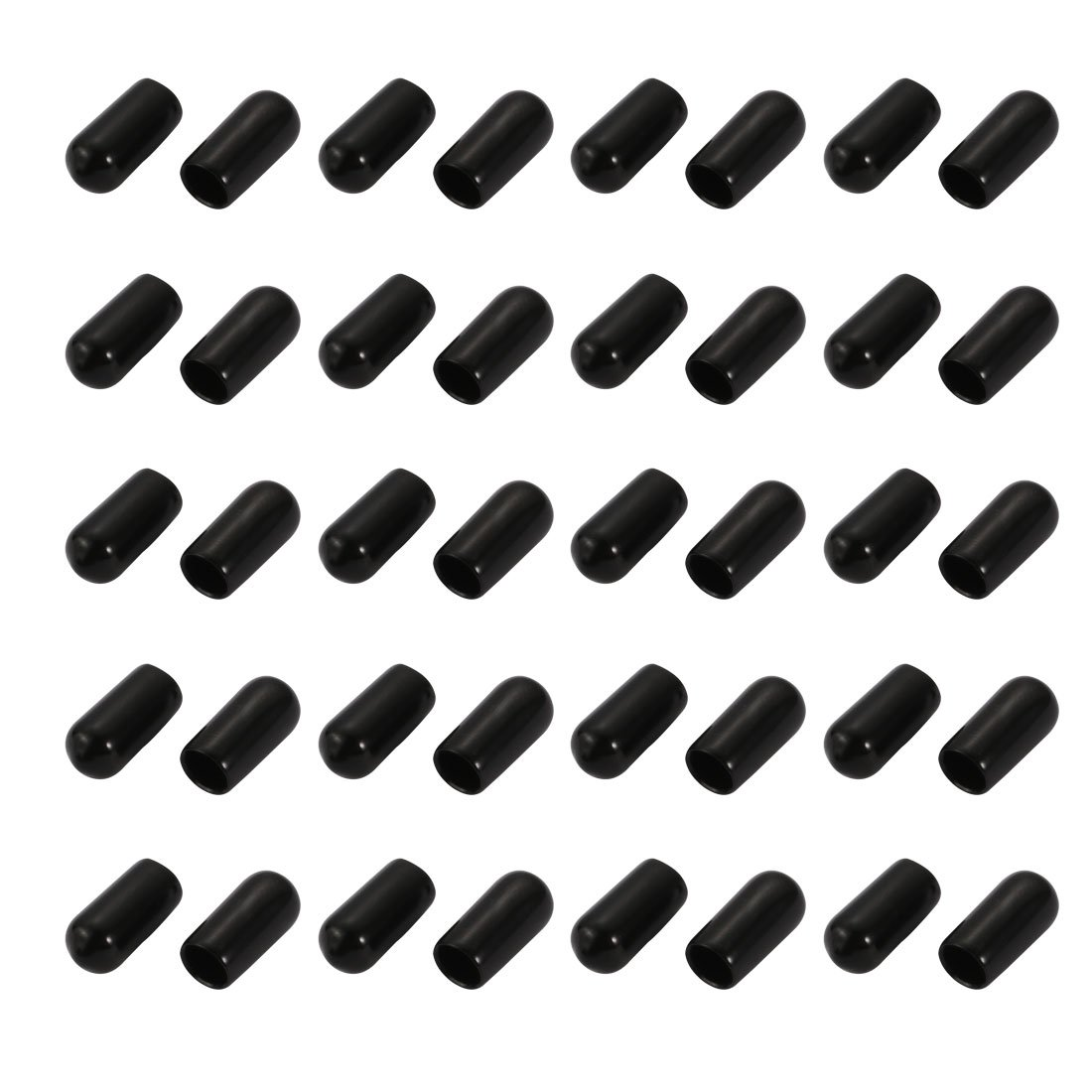 8mm ID Round End Cap Cover Flexible Black Tube Caps 50pcs sourcing map Screw Thread Protector