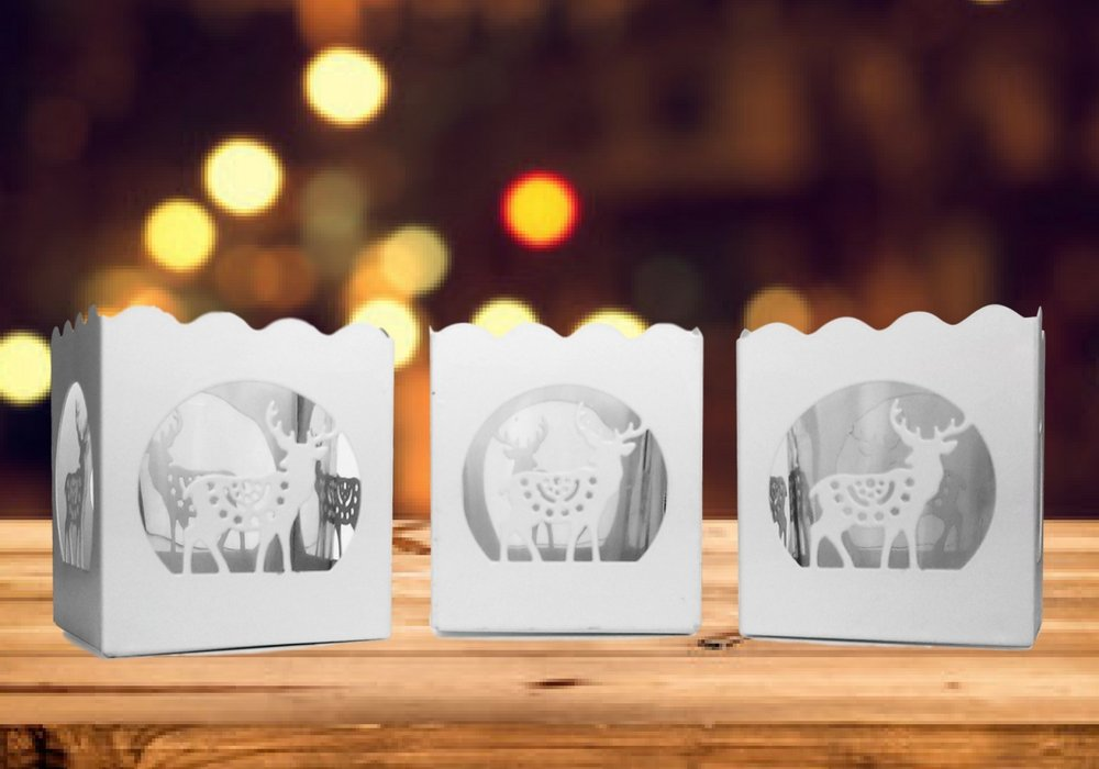 Christmas Candles Banberry Designs 9306 Holiday Candle Holders Set of 3 White Metal Votive Holders with Reindeer Designs