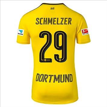 dc90c96f0df1c BVB Dortmund Home maglia 2016 17 Schmelzer Uomo con Hermes e Bundesliga  loghi 2016 2017 Borussia  Amazon.it  Sport e tempo libero