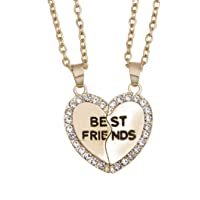 Yellow Chimes 2 PCS Best Friends Gold Plated Pendant for Girls (YCFJPD-N32BST-GL)