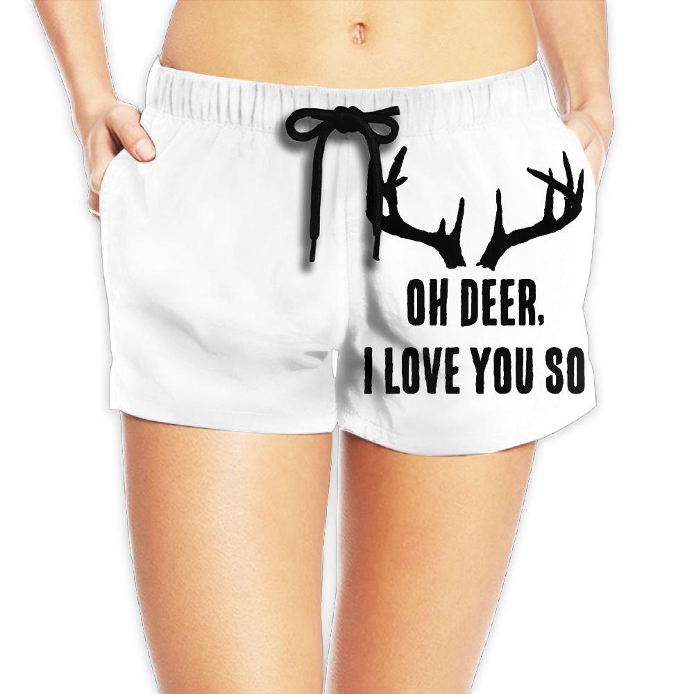 26019ebf547e Amazon.com   Women s Oh Deer I Love You So Summer Loose Fit High Waisted  Beach Wear Shorts Hot Pants   Sports   Outdoors