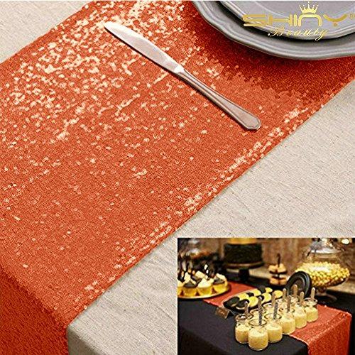 Orange Sequin Table Runner 108 Party Table Runner 14x108-Inch Orange Bridal Shower Decorations Pack of 1 (Orange)