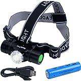 LEDヘッドライトusb充電式ヘッドランプIPX6防水仕様 1000ルーメン点灯4モード SOSフラッシュ機能 明るさ調整18650充電電池付属 コンパクト軽量