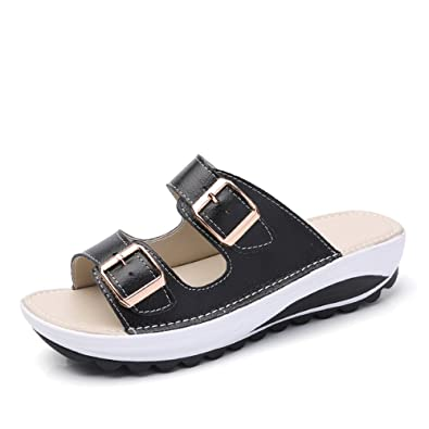 b910620ad08fa Women Sandals Wedge Low Platform Summer Slippers Buckle Rocker Sole Walking Shoes  Peep Toe Comfort Holiday Thick Bottom 4cm Black Blue Orange Pink White ...