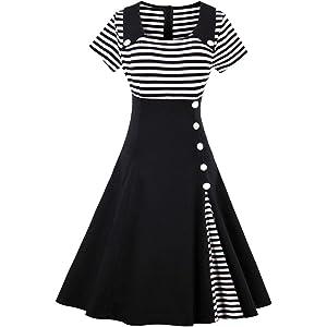 ZAFUL Mujer Vintage Vestido Años 50s Vestidos de Fiesta Cóctel A-Line Rayas S-