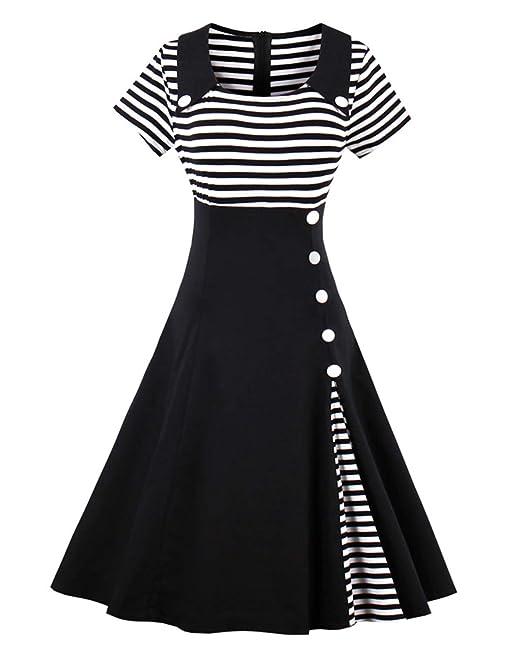 ZAFUL Mujeres Vintage Vestidos Años 50s Audrey Vestido de Cóctel Fiesta Verano Falda Plisada Retro Rockabilly