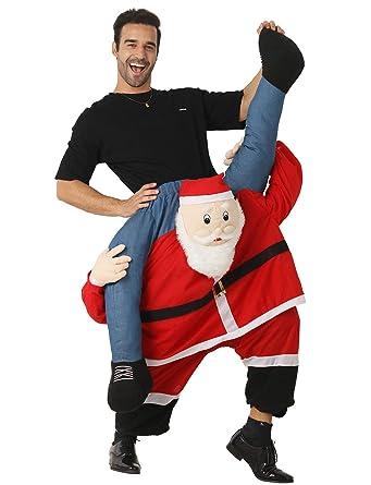 Santa Costume Adult Carry Me Santa Claus Ride On Christmas Mascot Pants:  Amazon.co.uk: Clothing