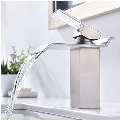 kingo home commercial lavatory single handle vanity waterfall bathroom sink faucet brushed nickel - Bathroom Sink Faucets
