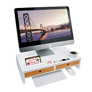 "Monitor Riser Stand Desk Shelf - with Drawer and Keyboard Storage, Stylish and Well Made Space Saver 22"" x 10.6"" x 4.7"""