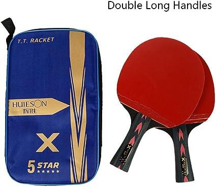 RONDA Pala Tenis De Mesa Huieson 2PCS 5 Estrellas Ligeras Y Potentes Baquetas De Ping Pong De Carbono con Mango Cómodo para Jugadores De Tenis De Mesa, Principiantes, Amateurs Y Profesionales: Amazon.es:
