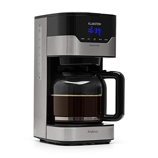 Klarstein Arabica Cafetera - Potencia: 900 W , Capacidad: 1,5 litros , Intensidad regulable , Pantalla LCD , EasyTouch Control , Acero inoxidable , ...