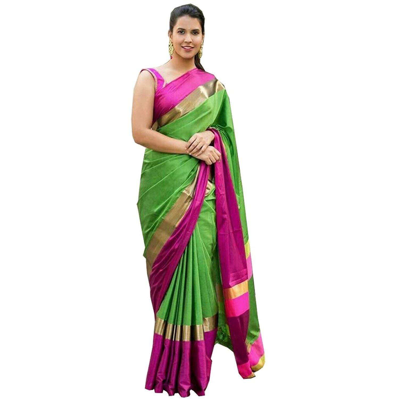 c6ba528fe27e2 Dhiyan Enterprise Cotton Silk Saree with Blouse Piece