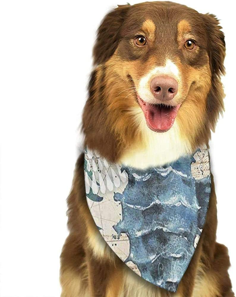 YAGEAD Pañuelo para Perros Cachorro y pañuelos para Mascotas, Caballito de mar Naranja Estrella de mar Océano Mala Flor Mapa náutico Antiguo Captura Suave Naranja Turquesa Bufanda para Mascotas