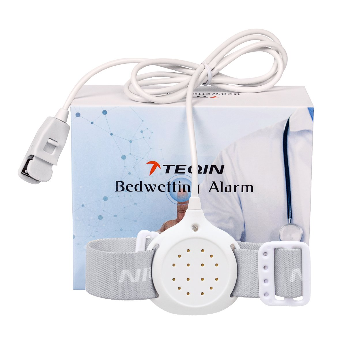 TEQIN Upgraded Bedwetting Enuresis Alarm with Loud Sound and Strong Vibration for Boys, Girls, Deep Sleepers-Potty Trainning Alarm
