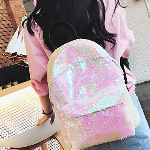 Z Satchel Sparkling Student Bag Travel Paillette off Mega Sequins Backpack Girls White Women Rucksack School Fashion XS4qPO