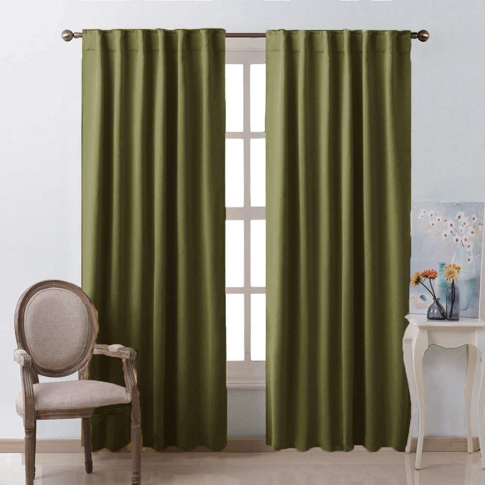 NICETOWN Living Room Blackout Draperies Curtains - (Olive Green Color) W52 x L84, 2 Pieces, Room Darkening Window Blackout Drape Panels
