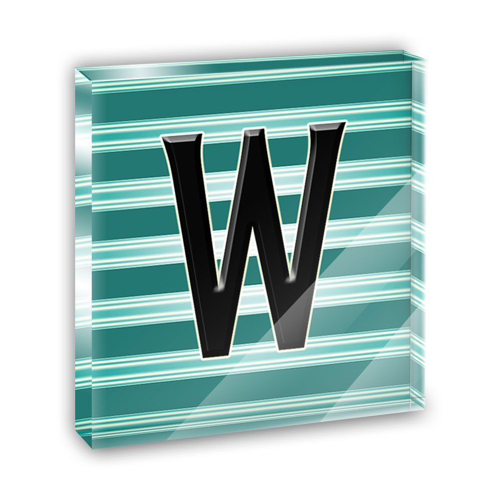 Letter W Initial Black Teal Stripes Acrylic Office Mini Desk Plaque Ornament Paperweight