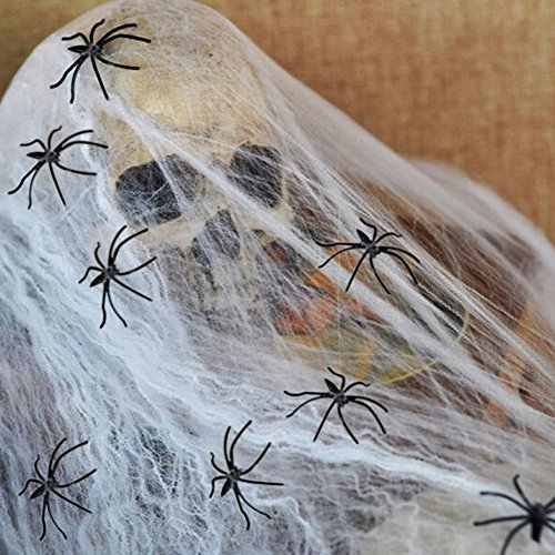 Halloween Spider Webs Stretchable Indoor & Outdoor Spooky Cobwebs with 25 Fake Spiders Halloween Decorations
