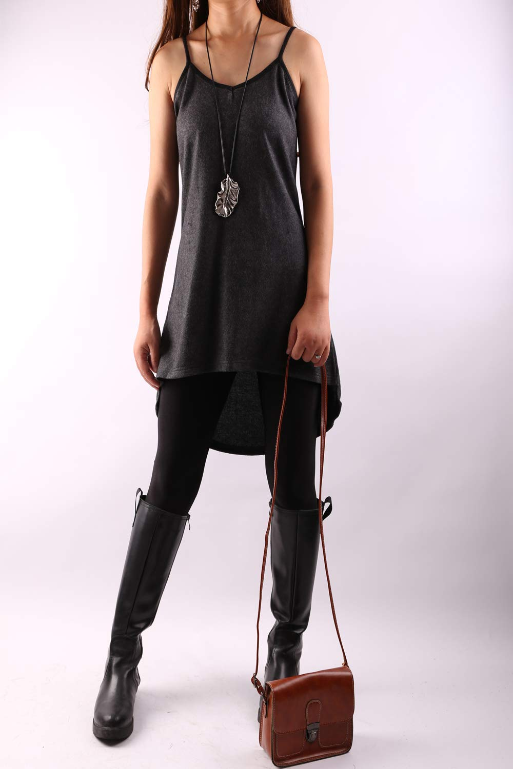 Asymmetrical Thumb Hole Tunic Dress set Dark Grey