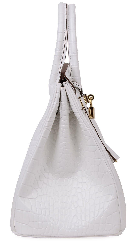 Cherish Kiss Padlock Bag Women Crocodile Leather Top Handle Handbags (35cm, Pure white) by Cherish Kiss (Image #3)