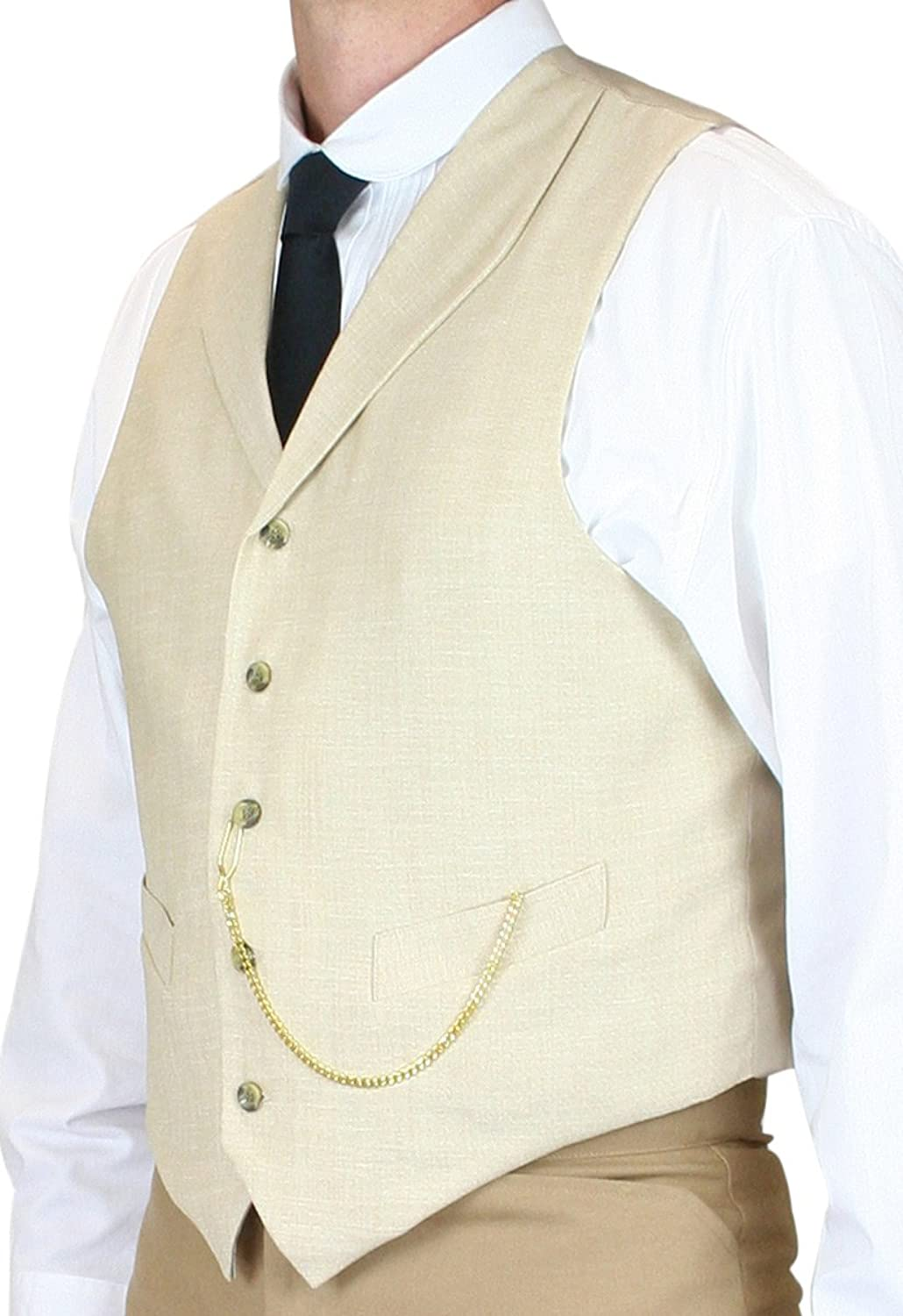 Edwardian Men's Fashion & Clothing Historical Emporium Mens Thatcher Linen Vest $59.95 AT vintagedancer.com