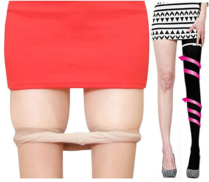 Queenneeup Womens Magic Slim Leg Ultra High Compression Stockings Black Sheer Leggings