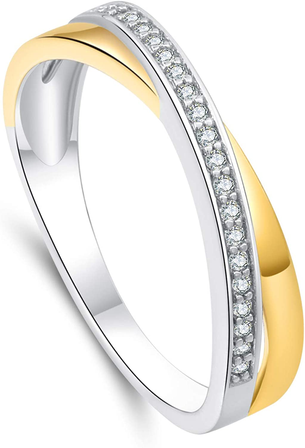 SA SILVERAGE Sterling Silver 18k Plated Rings with Cubic Zirconia for Girl Friend Birthday Gift