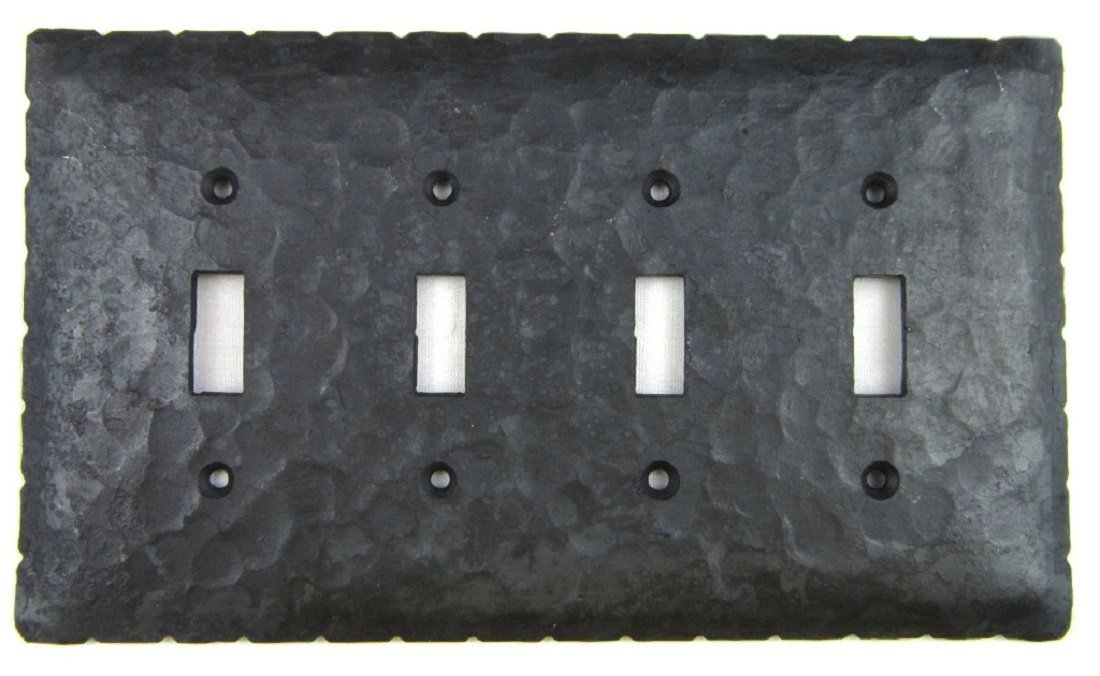 Rustic Rancho Wrought Iron 4 Gang Toggle Quad Switch Plate Cover EPH441