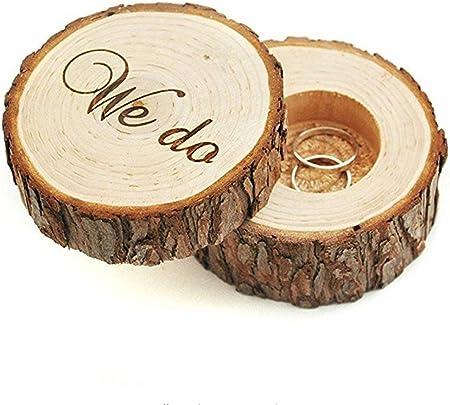 Caja de anillo de boda, portador de anillo de boda, caja de boda para anillos, caja rústica de anillo: Amazon.es: Hogar