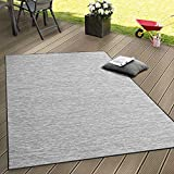 Indoor & Outdoor Flat Woven Rug Patios Rugs With Grey Colour Gradient, Size:120x160 cm