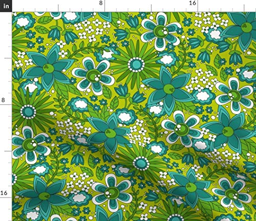 Green & Blue Daisies 1960s Flower Fabric - St Patrick Flower Floral Green 1960S Flower Power Mod Retro Vintage by Robyriker Printed on Modern Jersey Fabric by The Yard