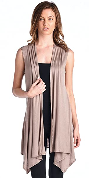 d5672067c1d 82 Days Womens Casual Sleeveless Long Summer Cardigan Plus Size Made in USA  Small Toffee