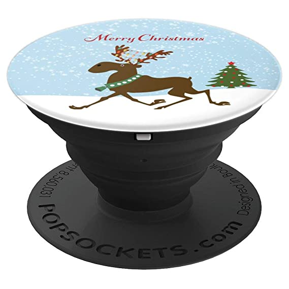 moose with christmas lights and christmas tree popsockets grip and stand for phones and tablets
