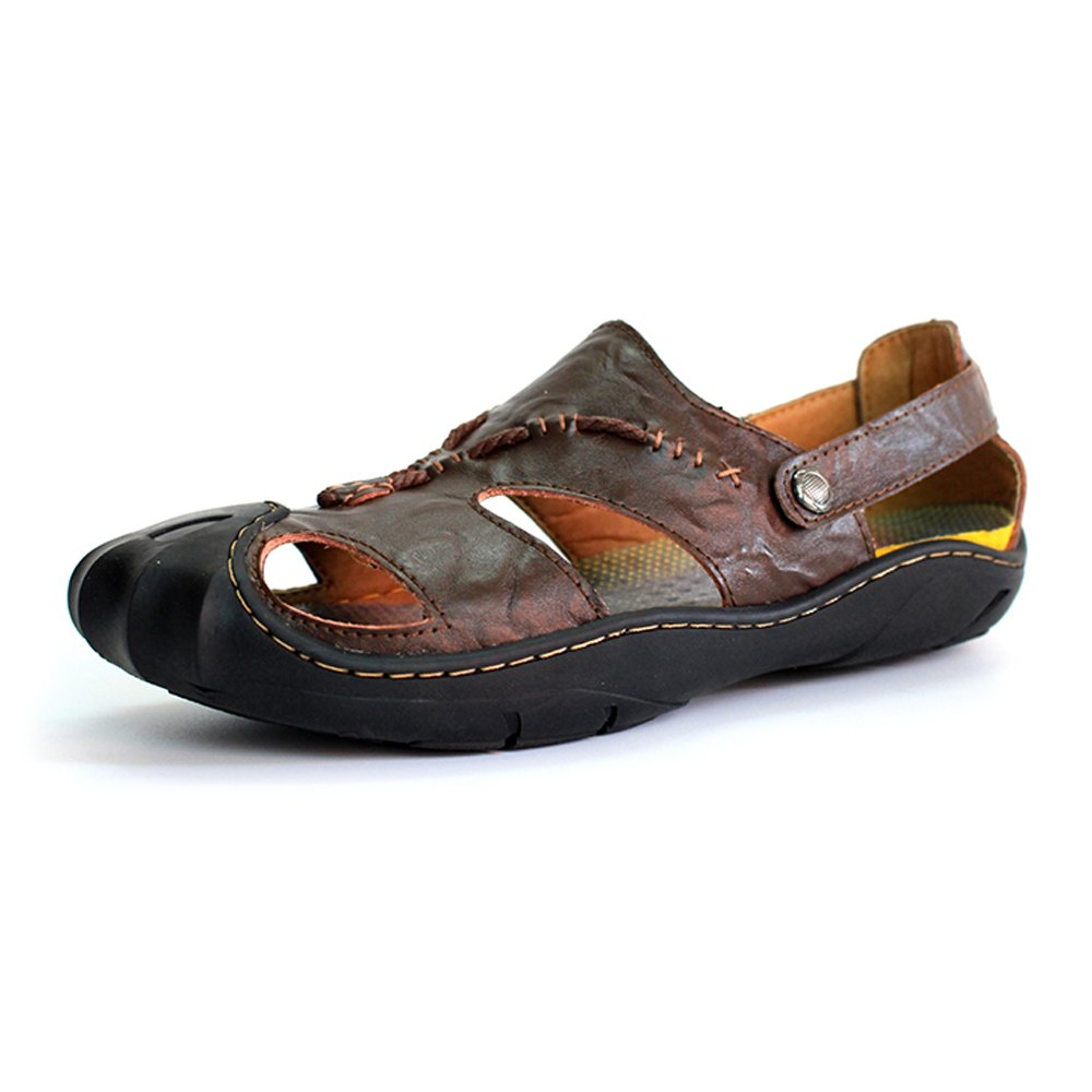 Sandals for Men, Men's Genuine Leather Beach Slippers Casual Non-Slip Non-Slip Casual Soft Flat Closed Toe Sandals Shoes No Glue, Spring/Summer 2018 6.5MUS Brown B07D34WKPP 61250a