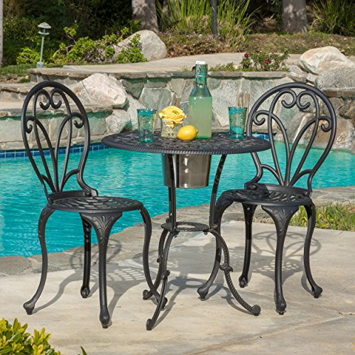 Cheap Great Deal Furniture Wayne Cast Aluminum Black Gold 3-piece Bistro Set with Ice Bucket