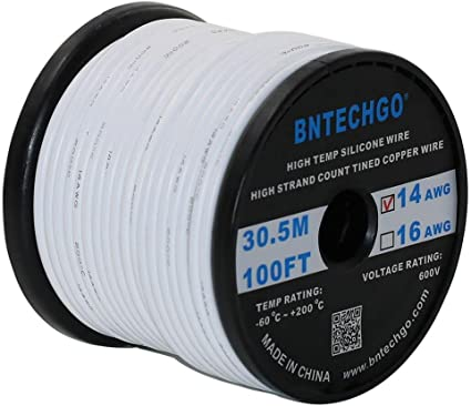 BNTECHGO 14 Gauge Silicone Wire Spool White 25 feet Ultra Flexible High Temp 200 deg C 600V 14AWG Silicone Rubber Wire 400 Strands of Tinned Copper Wire Stranded Wire for Model Battery Low Impedance bntechgo.com