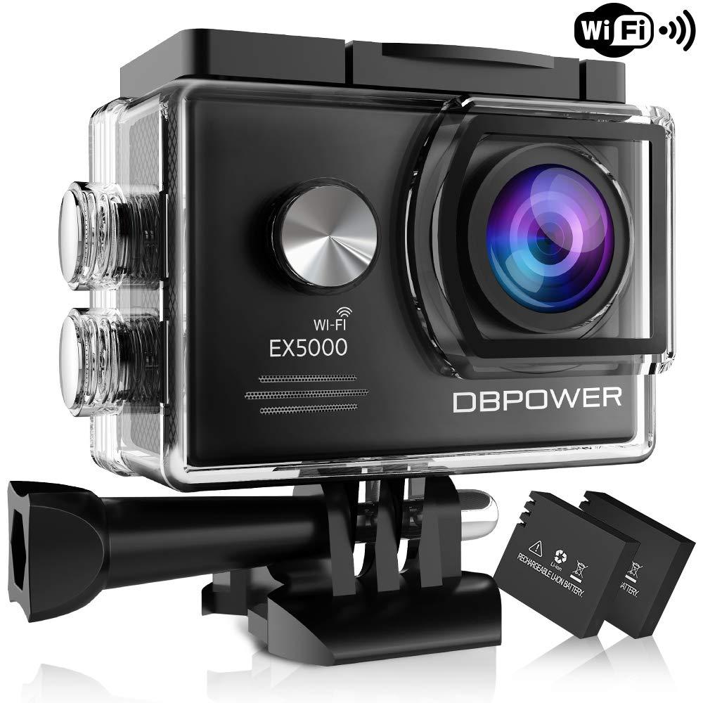 DBPOWER Original EX5000 WIFI 14MP Full HD Sports Action Kamera wasserdicht mit 2 verbesserten Batterien + Accessoires