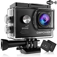 Dbpower® EX5000WIFI Caméra imperméable pour sports extrêmes 14MP FHD avec 2batteries et accessoires