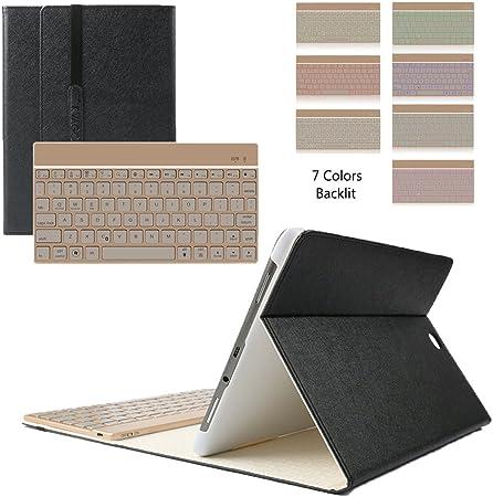 Samsung Galaxy Tab S2 9.7 con Teclado, KVAGO Funda de protección Elegante Funda con 7 Colores retroiluminada Teclado Bluetooth Teclado inalámbrico ...