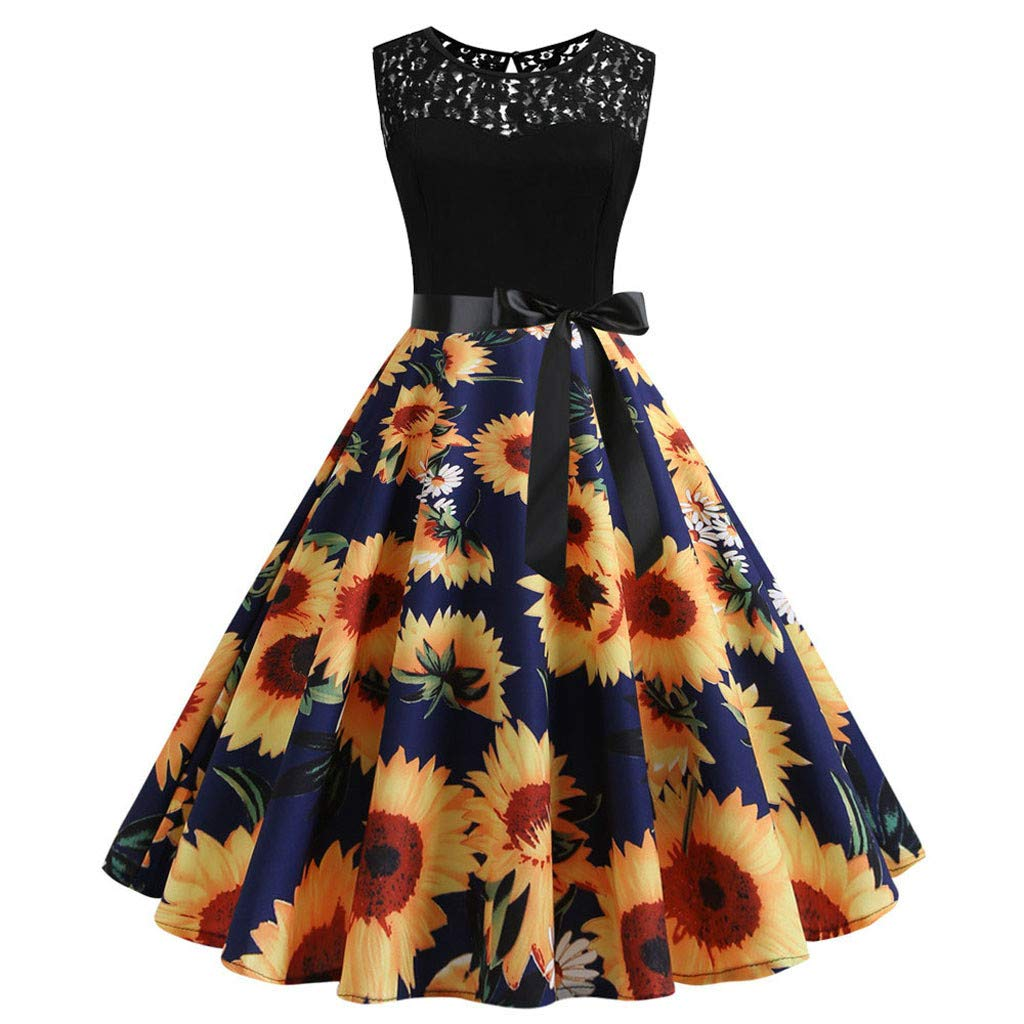 Nadition Evening Party Dress ✨Women Vintage Lace Splice Sunflower Print Belt Dress Summer Sleeveless Prom Swing Dress Navy