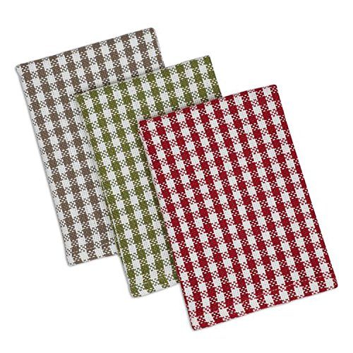 Design Imports Apple Orchard Cotton Table Linens, Heavyweight Orchard Checks Dishcloths, 13-Inch by 13-Inch, Red Check, Green Check and Taupe Check, Set of 3 (Kitchen Checkered)