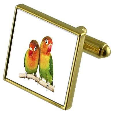 Pájaro del amor tono Oro gemelos Crystal Gift Set Clip de corbata ...