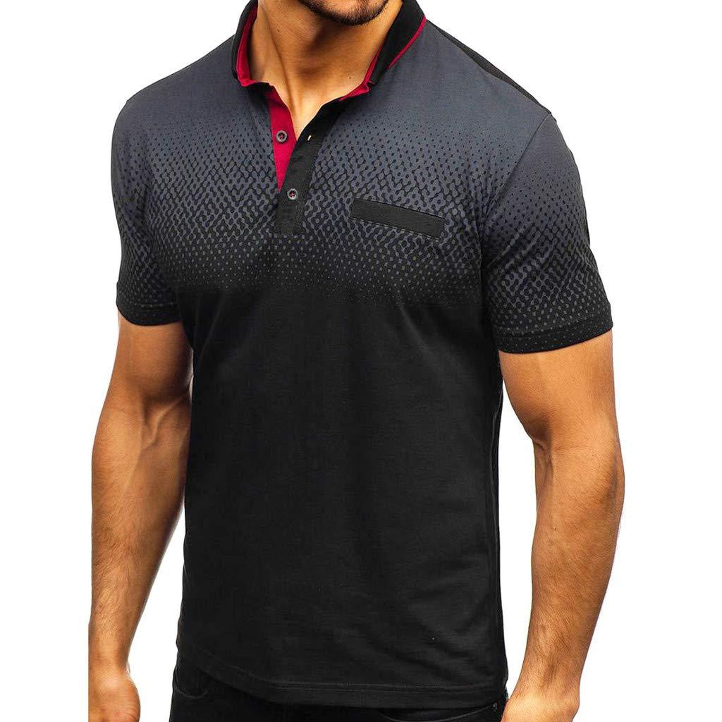 Mens T Shirt Mens Short Sleeve Shirt Gradient Splicing Pattern Casual Fashion Turn-Down Collar Top
