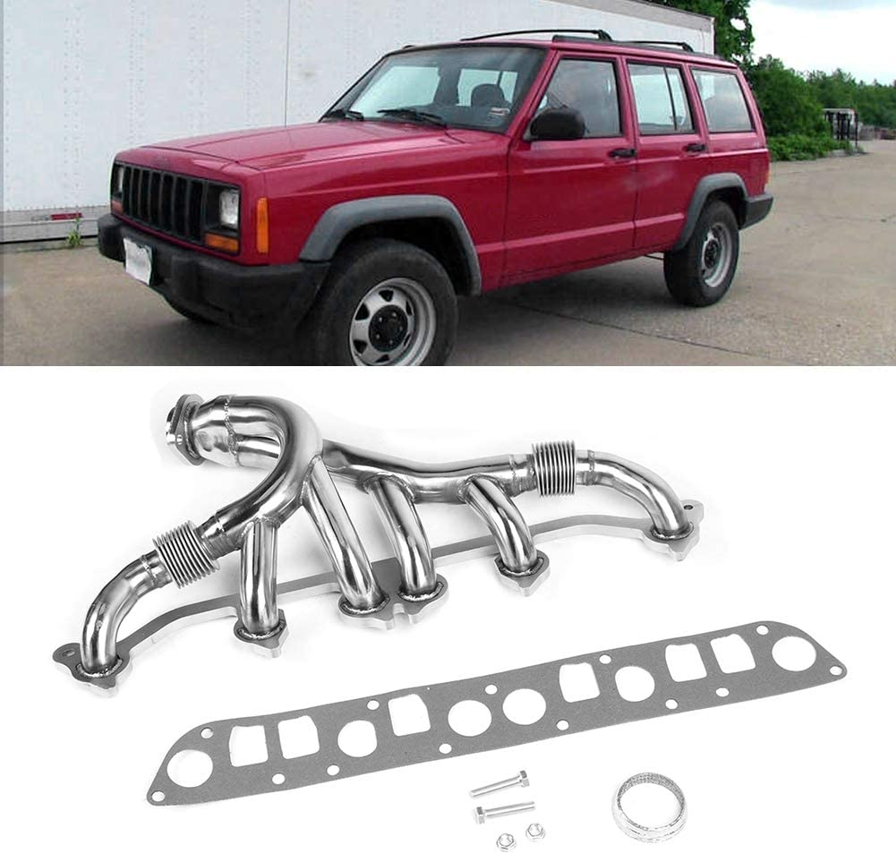 Stainless Steel Exhaust Manifold Kit Improves the Output Power of Engine Fit for Jeep Grand Cherokee Wrangler L6 4.0L 1991-1999 Vehicle Accessories Replacement Exhaust Manifold