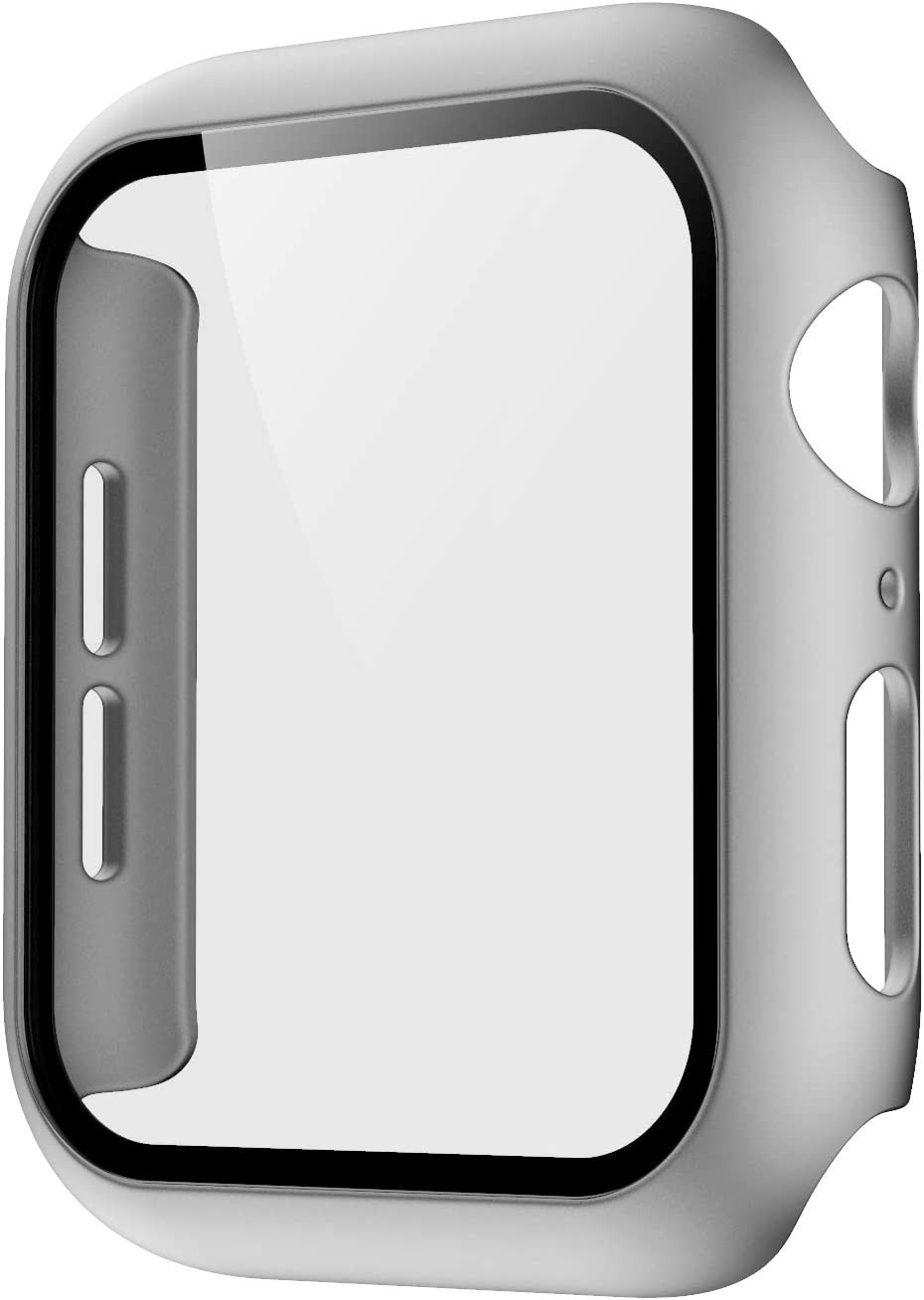 Pokanic Compatible with Apple Watch SE 6 5 4 3 2 1 Series iWatch 9H Tempered Glass Case Full Body Screen Protector Cover Wireless Charge Light Weight Scratch Resistant Proof (Silver, 42mm)