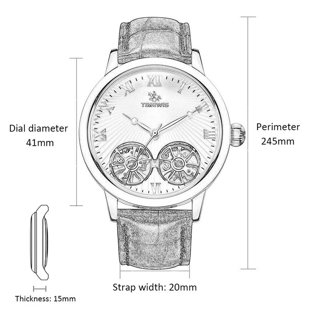 Automatisk dubbelskelett affärer enkel armbandsur, konstgjort läder herrklänning vattentät klocka - flerfärgad rem b c
