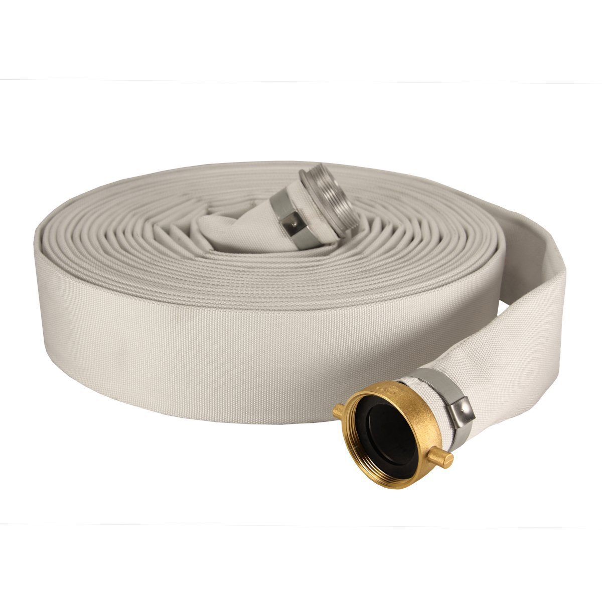 Anderson Process 4'' X 50' Layflat White Mill Water Discharge Hose Assembly w/ Pin Lug Fittings