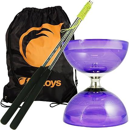 Purple Cyclone Quartz II Triple Bearing Diabolo with Aluminium Metal Sticks and Carry Bag Pro Clutch Diablo Set