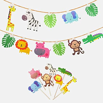 Kapoklife Animal Party Banner With 28 Pack Cute Zoo Cupcake Toppers PicksJungle