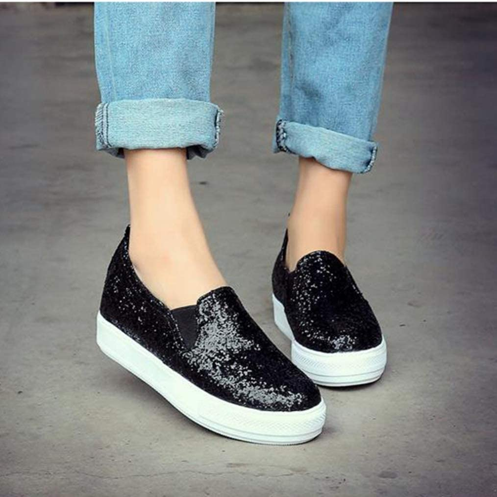 Womens Bling Loafers Fashion Platform Casual Comfort Slip-On Classic Driving Walking Shoes Round Toe Soft Flats